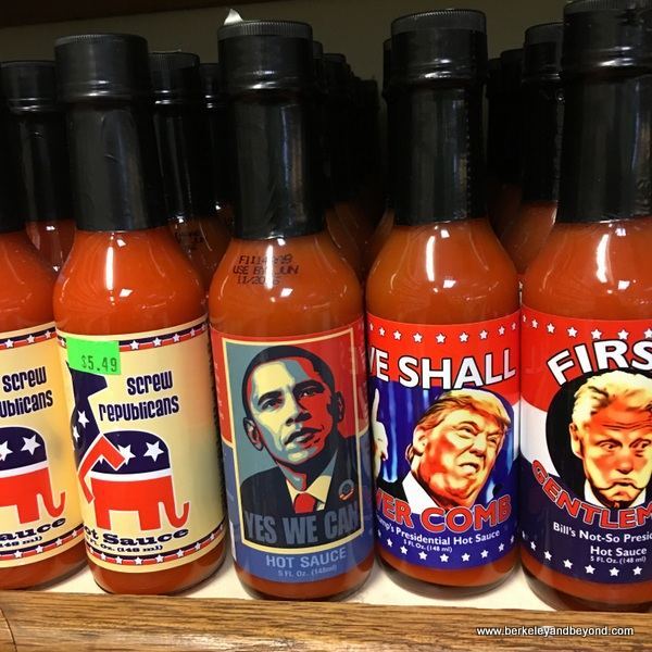 political hot sauces at Pedrick Produce in Dixon, California