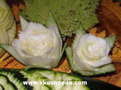 rose carved in squash