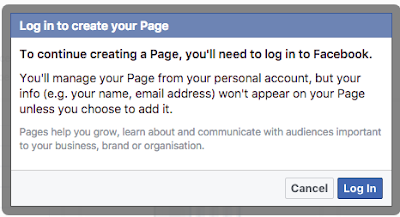 login to create Facebook page