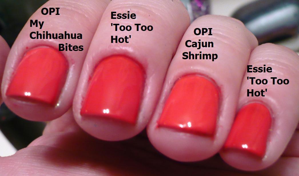 Haul Of Fame Comparison Post Opi My Chihuahua Bites Vs Essie Too Too Hot Vs Opi Cajun Shrimp