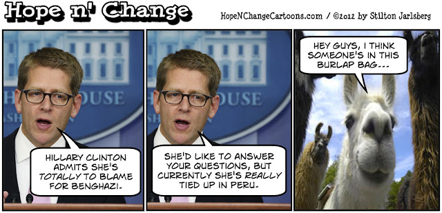 benghazi, jay carney, peru, llamas, hillary clinton, terror, al-qaeda, obama jokes, stilton jarlsberg, tea party, hope and change