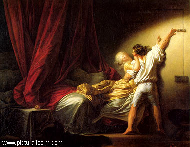 Culture Mechanism  Jean Honor     Fragonard and the Rococo Style  The Bolt  is another one of Fragonard s paintings  Upon closer examination  you can see how allusive this painting is  The distraught bed  the man  locking
