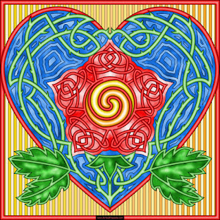 knotwork rose coloring page