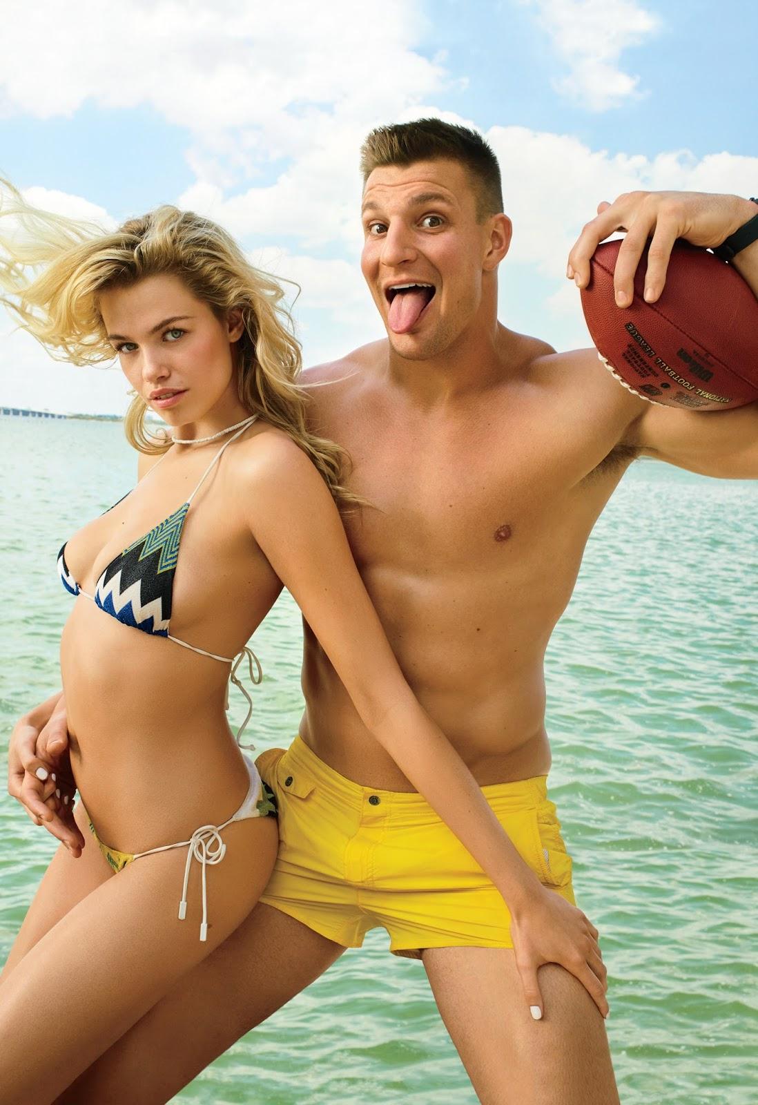 Rob Gronkowski e a modelo Hailey Clauson na capa e recheio da GQ