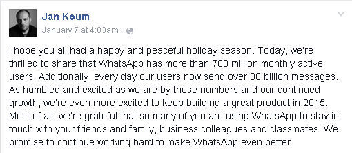 700 Plus Millions Users for WhatsApp