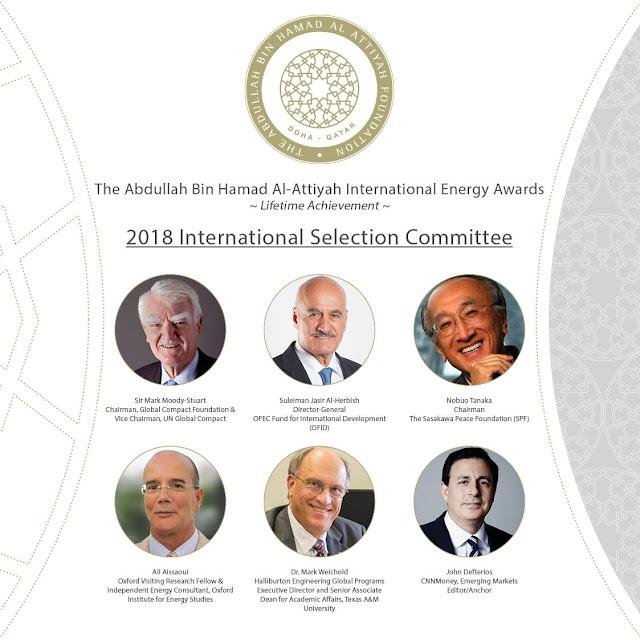 The 2018 Selection Committee for the Abdullah Bin Hamad Al-Attiyah International Energy Awards