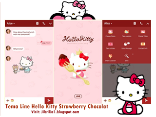 Tema LINE Hello Kitty Strawberry Chocolate Official Line Theme Terbaru Download Gratis - wasildragon