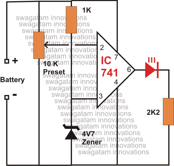 Low Battery Indicator Circuit Using Ic 741 Homemade Circuit Projects