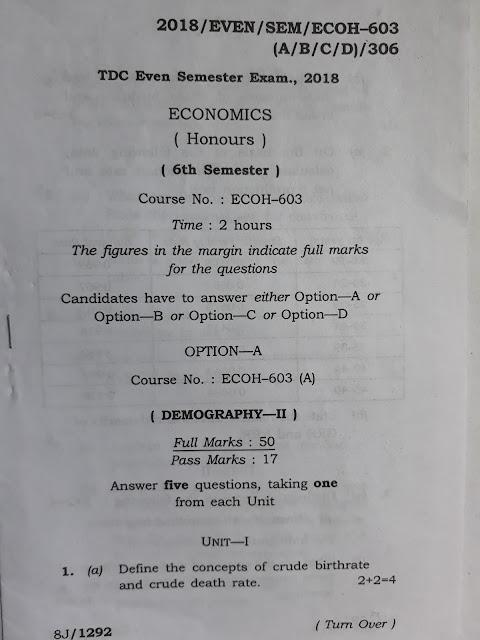 TDC/BA 6 sem economic honours previous year question paper