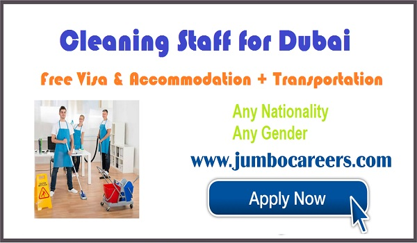 available cleaning jobs in Dubai, UAE jobs with visa and accommodation