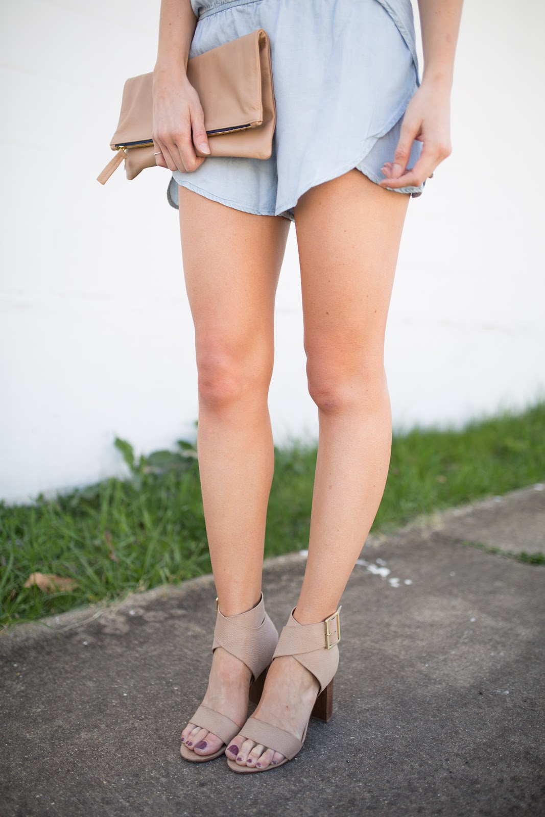 Chambray romper + nude heeled sandals