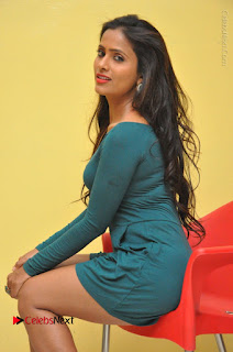Telugu Actress Prasanthi Stills in Green Short Dress at Swachh Hyderabad Cricket Press Meet  0069.JPG