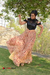 Actress Chetana Uttej Stills in Floral Long Skirt at Pichiga Nachav Movie Press Meet  0123.JPG