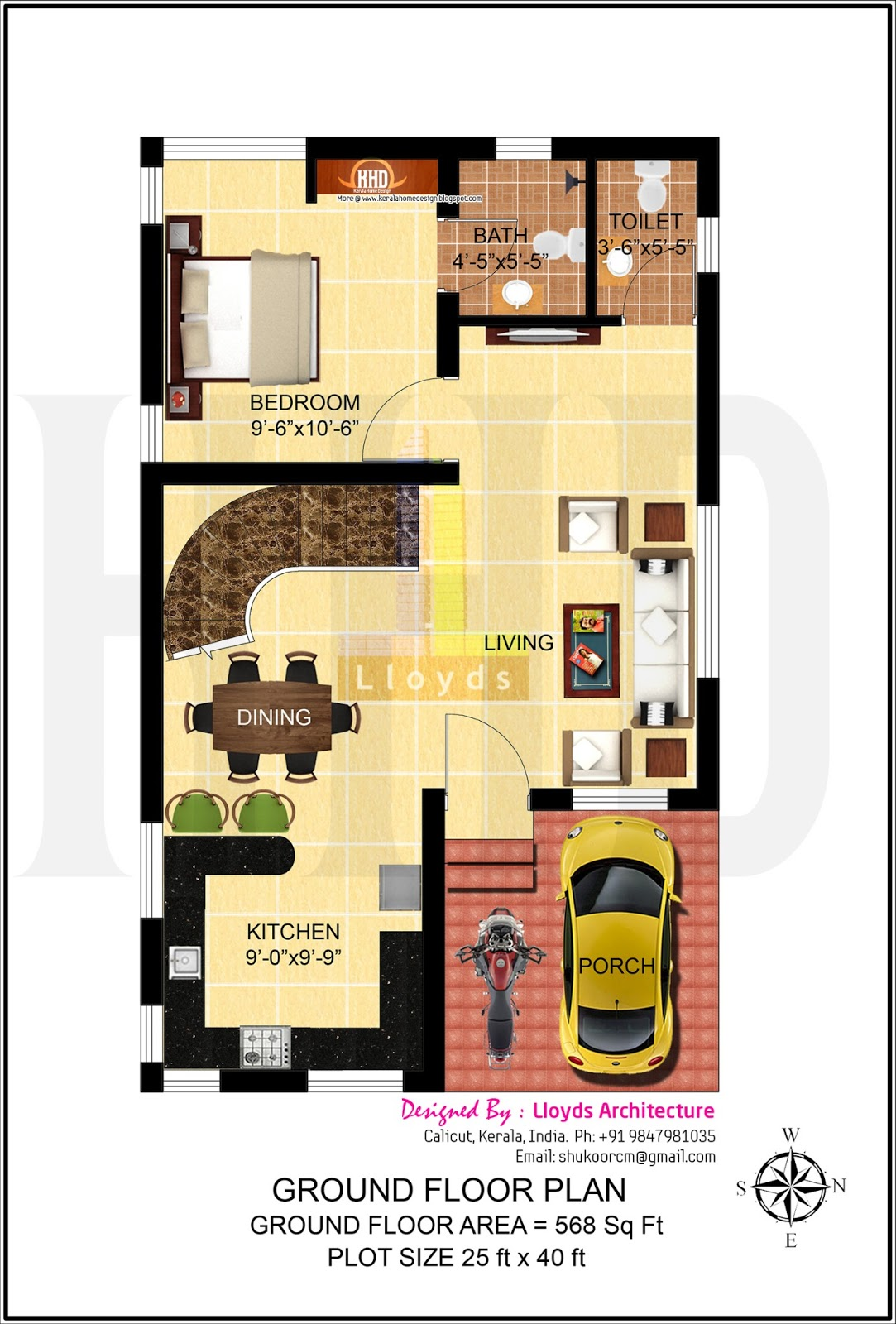 4 bedroom house plan in less that 3 cents home kerala plans for Ground floor house design