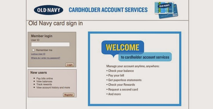 Old Navy Credit Card Login page
