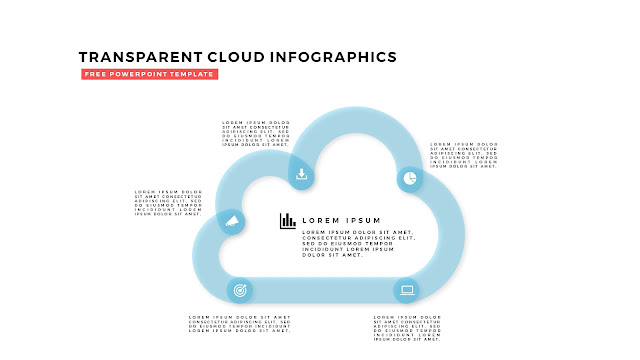 Free Infographic PowerPoint Design Elements with Transparent Clouds in White Background Slide 6