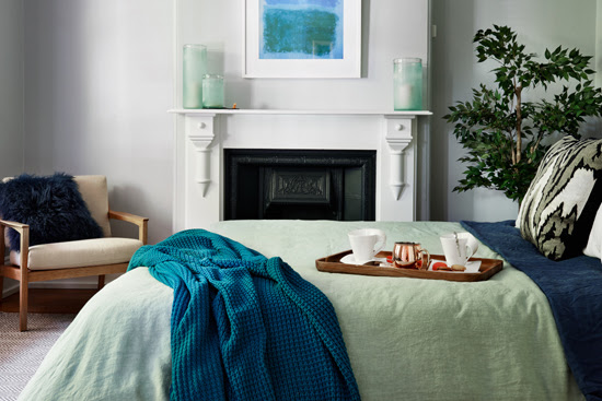 Safari Fusion blog | Bedroom sanctuary | A beautiful bedroom makeover in calming blues and greens by Tadah Design
