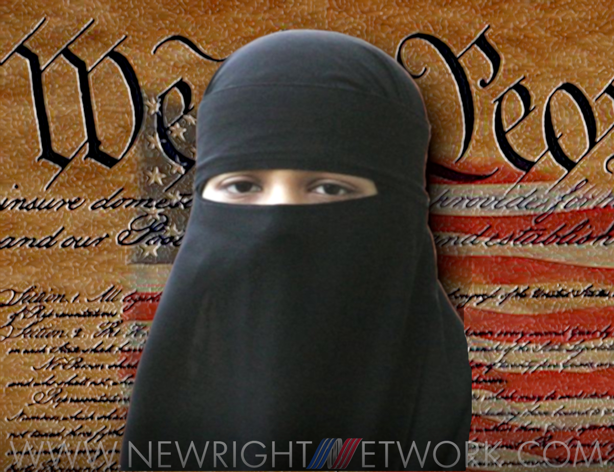 American Constitution with girl in Islam hijab in front