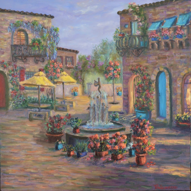 Painting of an Italian Tuscan Courtyard with Flower Gardens