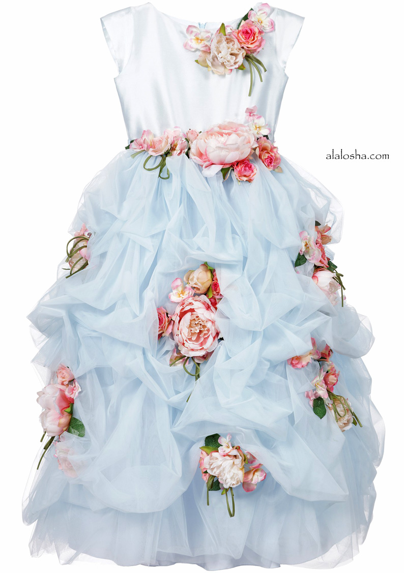 Blue Tulle Dress with Pink Flower Detail