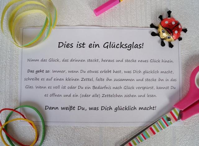 Text Glücksglas Glücksgläser basteln Anleitung DIY Printabel Vorlage