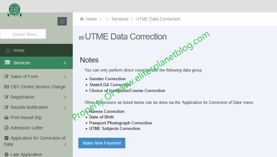 JAMB Change of Course/Institution Correction Page