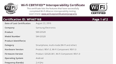 2016 Samsung SM-G5510 Launched in GFXBench and Get Wi-Fi accreditation