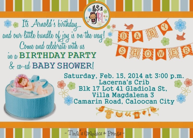 Tinas Graphics Prints Combined Birthday And Baby Shower Invitation