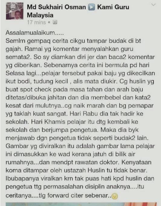 'Pelajar Itu Yang Bermasalah, Tolong Dedah Cerita Sebenar' - Md Sukhairi Osman