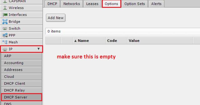 Mikrotik PXE boot DHCP options 66, 67, RouterOS, Cobbler