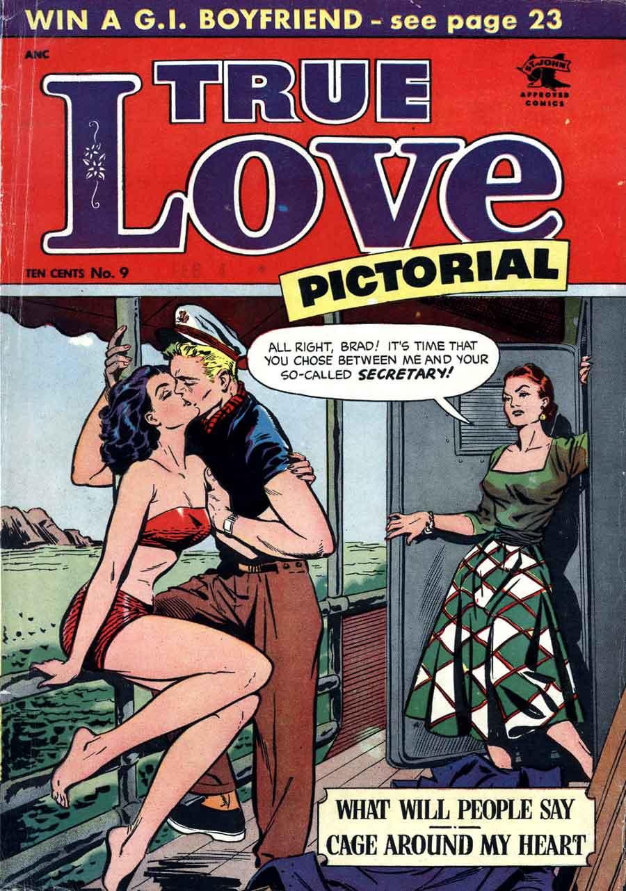 Matt Baker golden age 1950s romance comic book cover - True Love Pictorial #9