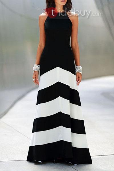 maxi dress black and white
