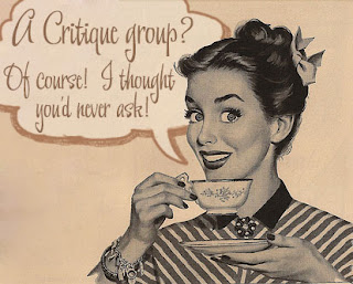 "Girl with Coffee Cup saying ""A Critique Group? Of course! I thought you'd never ask!"""