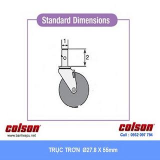Bánh xe trục trơn giường y tế Colson càng nhựa 5 inch | STO-5851-448 sử dụng ổ bi banhxedaycolson.com