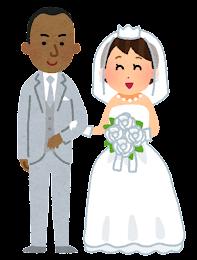 国際結婚をしたカップルのイラスト(黒人・黄色人)