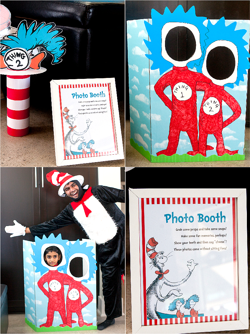 Cat in The Hat Inspired Birthday Party DIY Games & Photo Booth - via BirdsParty.com