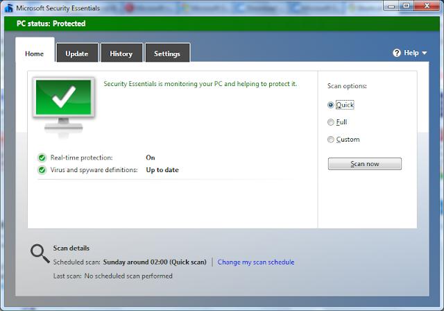 برنامج مجانى مميز للحماية من الفيروسات والبرامج الضارة Microsoft Security Essentials 4.3