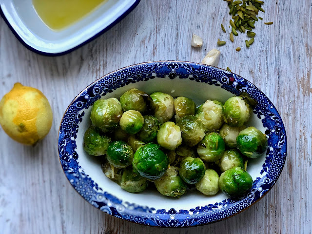 braised Brussels sprouts with lemon and pistachios pic:Kerstin Rodgers/ msmarmitelover.com
