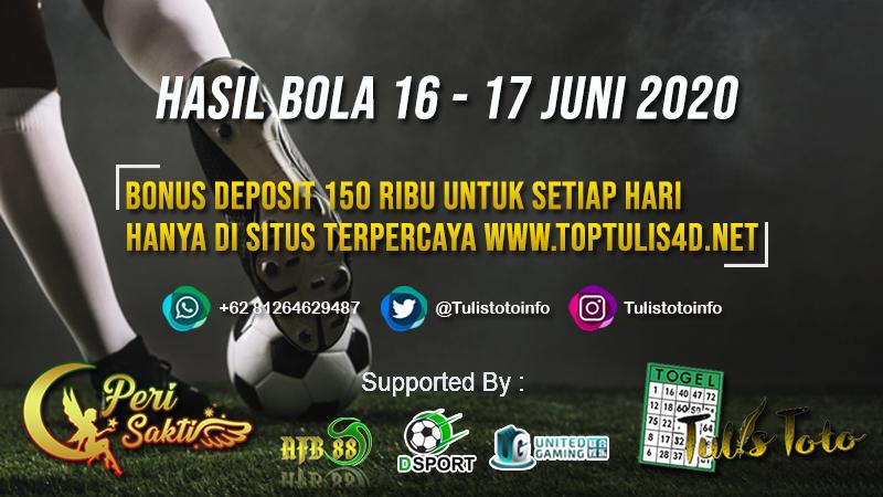 HASIL BOLA TANGGAL 16 – 17 JUNI 2020