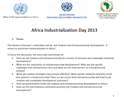 PARMIONOVA: Africa Industrialization Day 2013, 20 November