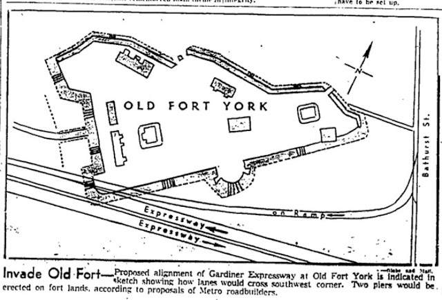 Proposed alignment of the Gardiner Expressway at Old Fort York: Jan24, 1958