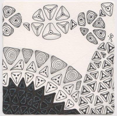 zentangle tripoli monotangle for diva challenge #284