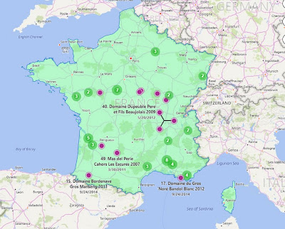 An interactive map output from Scrapbook showing all wines we drank that came from France. Wines are clustered in regions like Bordeaux, Burgundy, and Provence.