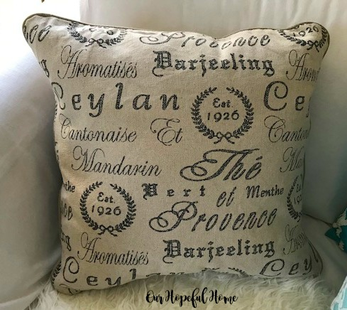 French tea script accent pillow farmhouse style