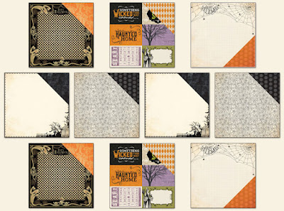 Scraps of Darkness annual Halloween mixed media scrapbook kit: Danse Macabre Coordinating Add On, featuring Authentique Moonlit, Echo Park Hocus Pocus, and Carta Bella Trick or Treat collections papers. Lots of spooky ghosts, spiderwebs, and graveyards in black, white, orange and purple.