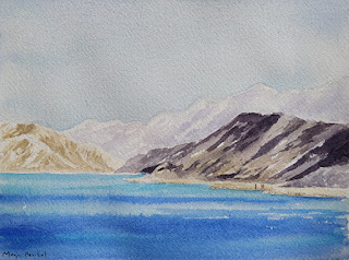 A water colour painting of Pangong Lake by Manju Panchal
