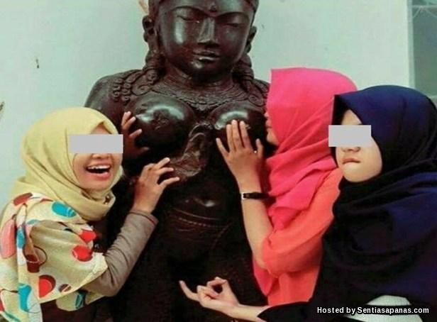 Aksi Terlampau 3 Gadis Bertudung
