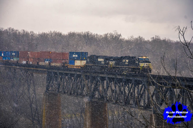 Norfolk Southern Leading Intermodal Over the Potomac, Shepherdstown, WV