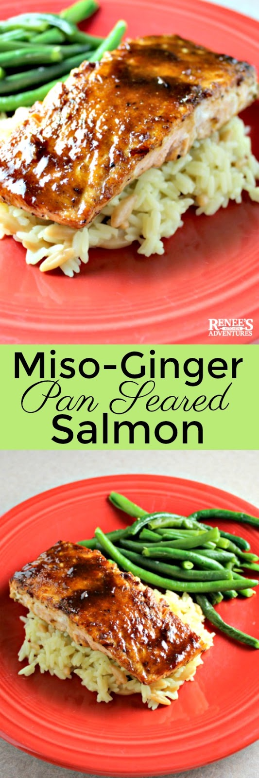 Miso-Ginger Glazed Salmon | by Renee's Kitchen Adventures - easy recipe for pan-seared salmon topped with a sweet and spicy glaze and ready for your table in about 30 minutes! Great seafood dinner menu option or great meatless choice for Lent. We love this fish! #salmon #fish #seafood #meatless