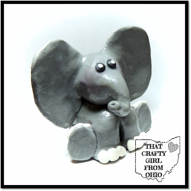 Super Cute Polymer Clay Craft Elephant Figurine With Upward Pointing Trunk